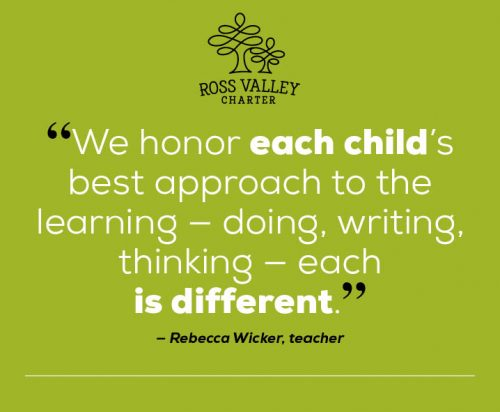 "Quote: ""We honor each child's best approach to the learning -- doing, writing, thinking -- each is different."" Said Rebecca Wicker, teacher"