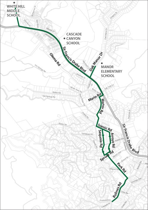A map of the bike route to Ross Valley Charter from downtown Fairfax