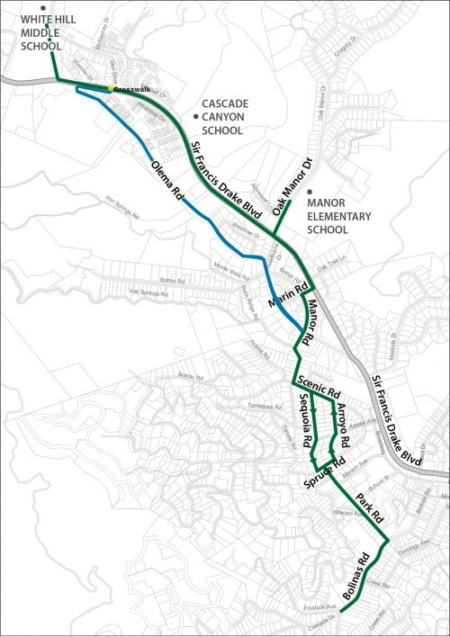 Map of Bicycle Routes to Ross Valley Charter