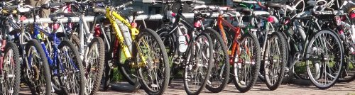 Image of bicycles attached to a bike rack