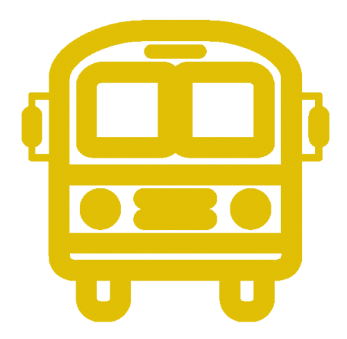 An icon of a yellow bus. Ross Valley Charter has a dedicated yellow school bus route to the White Hill Campus every morning.