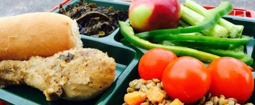 Image of organic food in school lunches