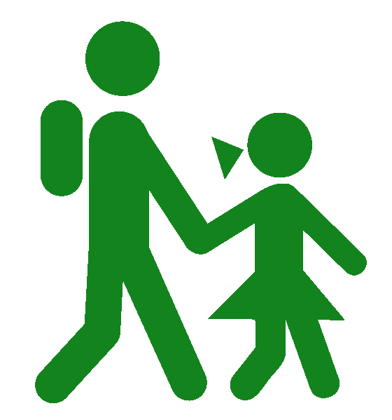 Icon of children walking to school. Walking to school is encouraged at Ross Valley Charter.