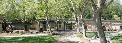 Ross Valley Charter is a public elementary school at the White Hill Campus in Ross Valley. Image shows the front of the school.