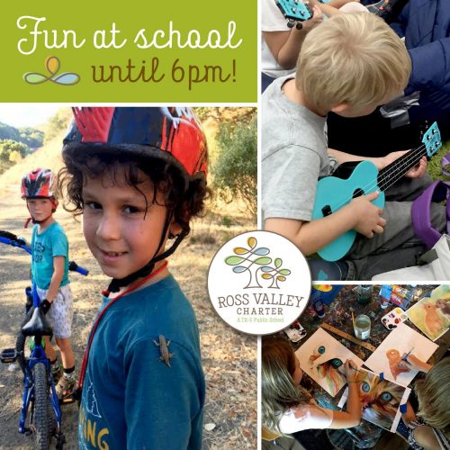 "Image of Ross Valley elementary school students mountain-biking, creating artwork, and playing music. Caption says ""Fun at school until 6pm!"""