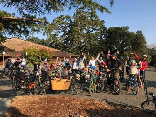 Ross Valley Charter Students kick off the year with a bike ride in Fairfax California