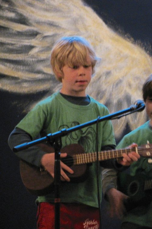 Ross Valley Charter Student plays the ukulele