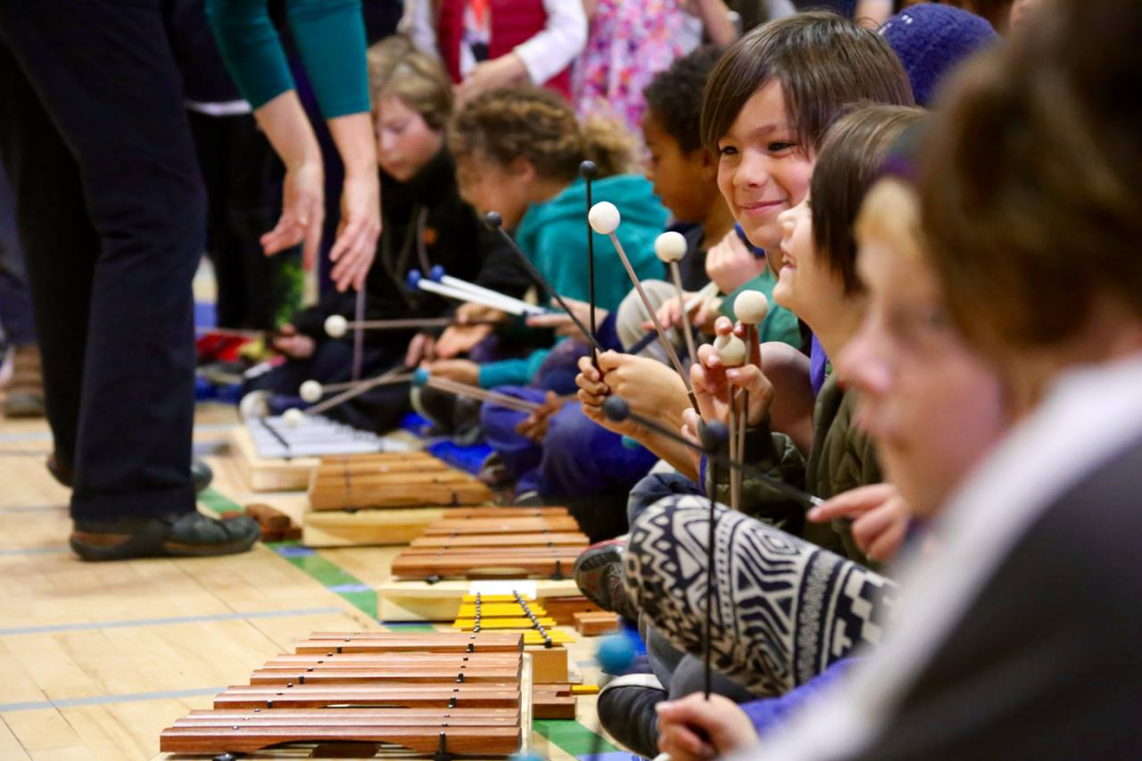 RVC Stands for music in Ross Valley - Kindergarten, first, and second-graders explore music with xylophones and percussion instruments.