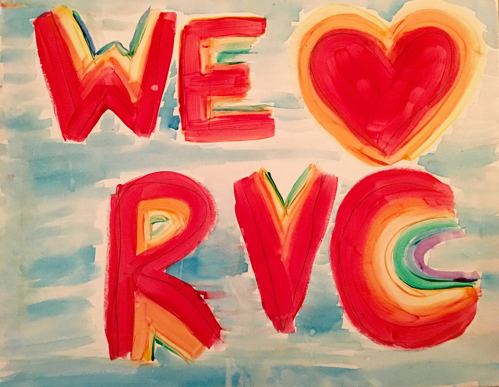 An oil painting that says we heart RVC. Ross Valley Charter is a loving elementary school community.