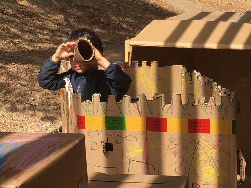 Transitional Kindergartners create castles out of cardboard at the White Hill Campus in the Ross Valley School District