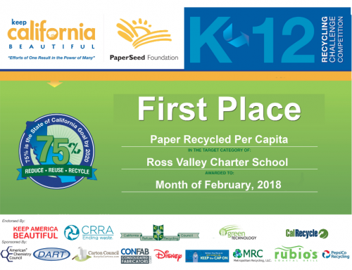 Ross Valley Charter award stating that RVC is the first-place winner in per-capita paper recycling in 2018