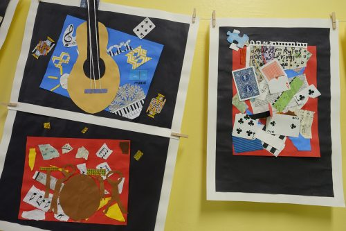 Musical instruments created in collage show that music programming is alive in Ross Valley schools