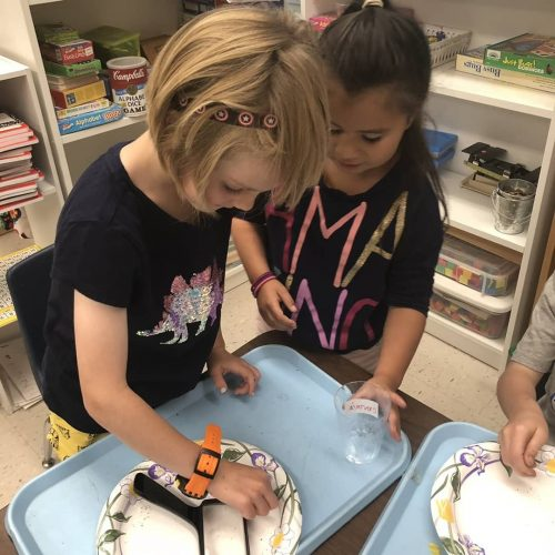 Two girls conduct an experiment in their first-grade class