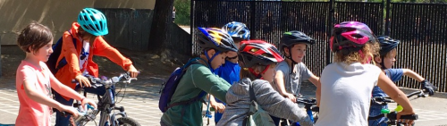 Ross Valley elementary school students on mountain bikes after school