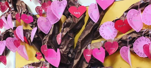 Ross Valley elementary school students created a tree with hearts for leaves to celebrate friendship