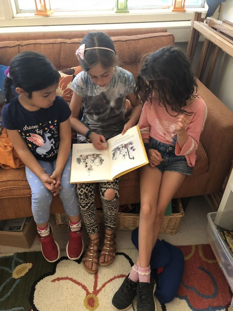Children of different ages read together, helping each other learn