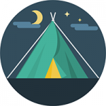 Icon of camping tent under night sky