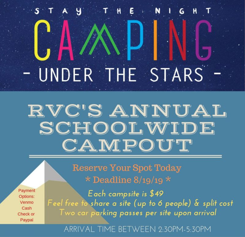 RVC Schoolwide Campout poster reads Camping Under the Stars. For information call the RVC office at 415-534-6970