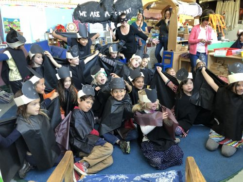 Transitional Kindergarten and Kindergarteners dress as bats for Halloween
