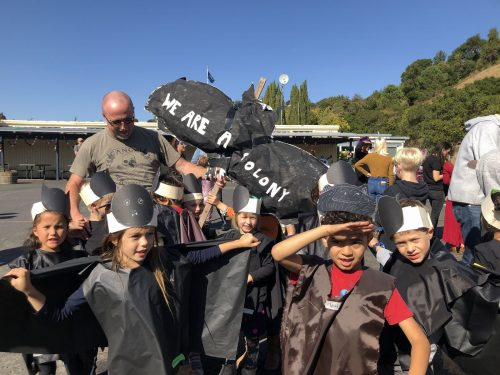 Ross Valley Elementary TK students created their own handmade bat costumes for halloween