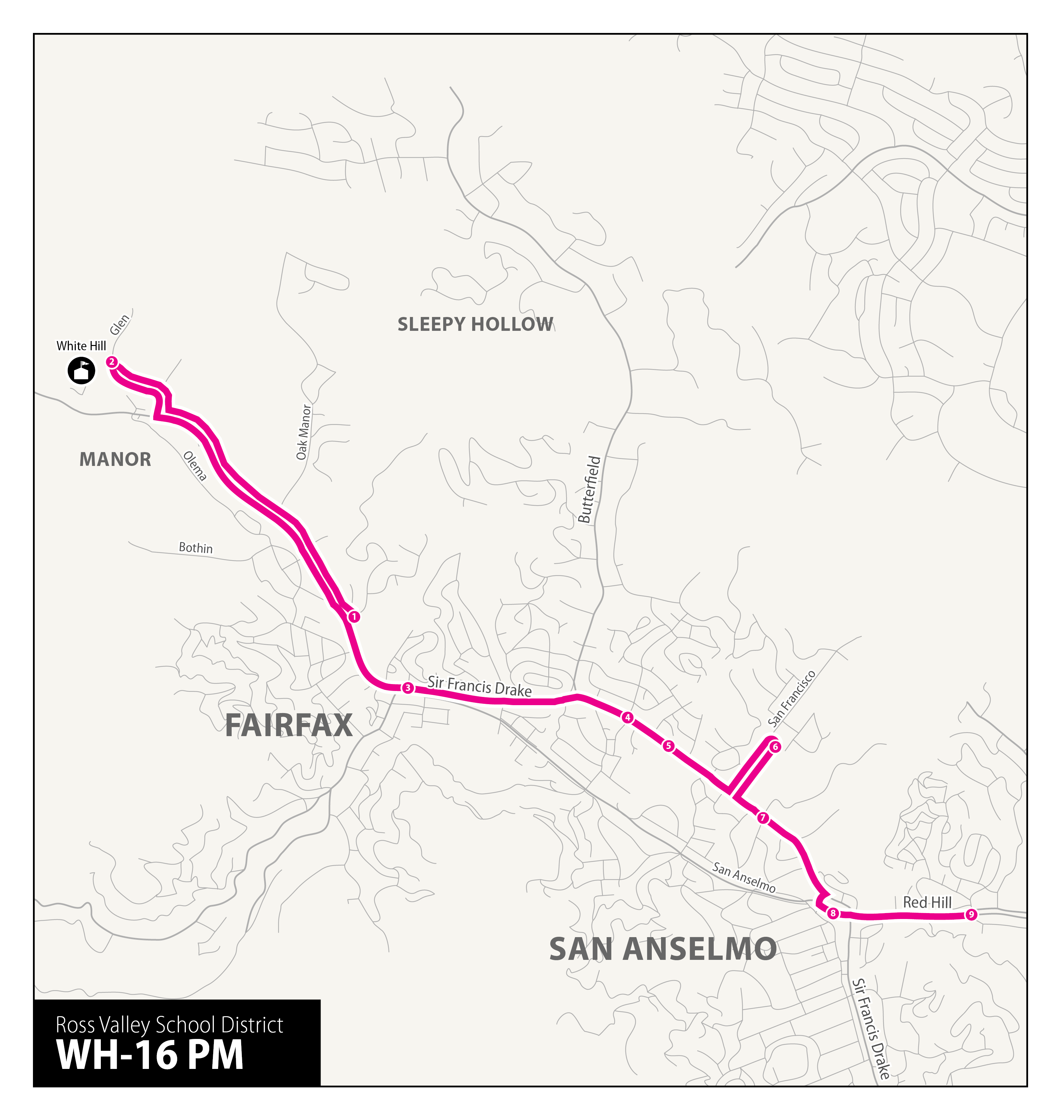 Ross Valley Charter Yellow Bus Service afternoon route through Fairfax and San Anselmo