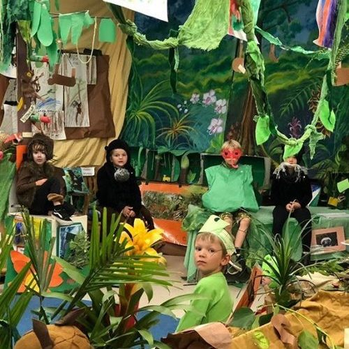 Transitional Kindergarteners, Kindergarteners, and first-graders teach about rainforest animals